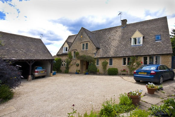 Little Gidding - view of front of house - plenty of parking and turning space