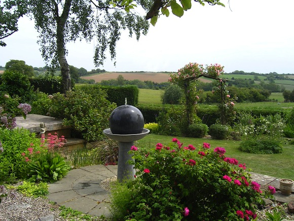 Looking down the garden to the water feature