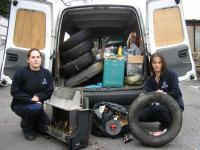 Claire Blizzard (left) and Caroline Ballinger with the rubbish dumped